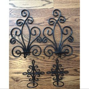 Pier 1,  2 LG and 2 SM candle sconces wrought iron
